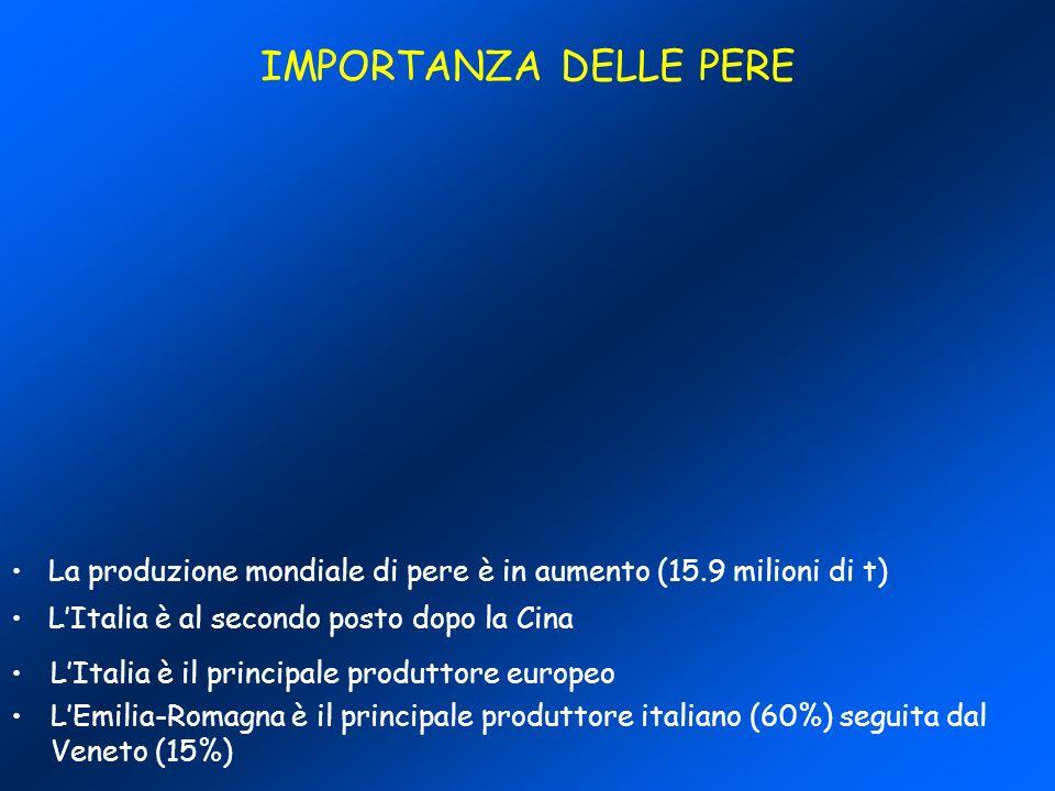IMPORTANZA DELLE PERE La produzione mondiale di pere è in aumento (15.9 milioni di t) L'Italia è al secondo posto dopo la Cina.