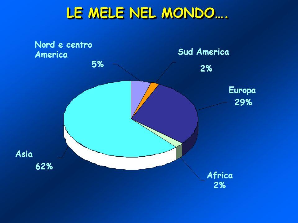 LE MELE NEL MONDO…. Nord e centro America Sud America 5% 2% Europa 29%
