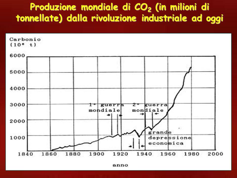 Produzione mondiale di CO2 (in milioni di tonnellate) dalla rivoluzione industriale ad oggi