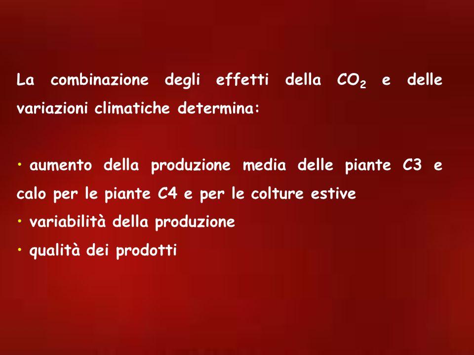 La combinazione degli effetti della CO2 e delle variazioni climatiche determina: