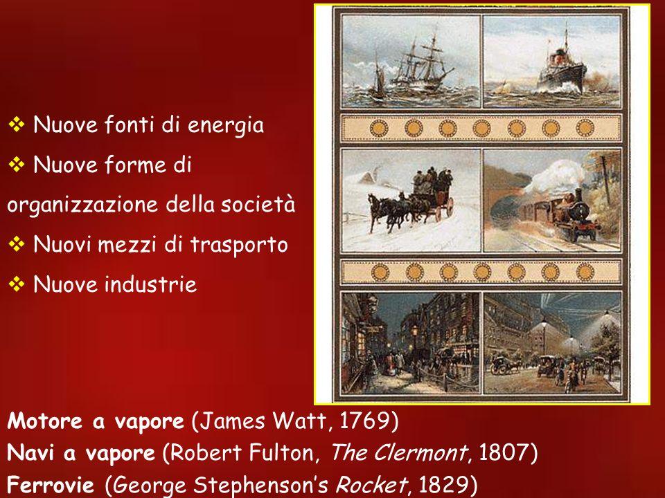 Nuove fonti di energia Nuove forme di organizzazione della società. Nuovi mezzi di trasporto. Nuove industrie.