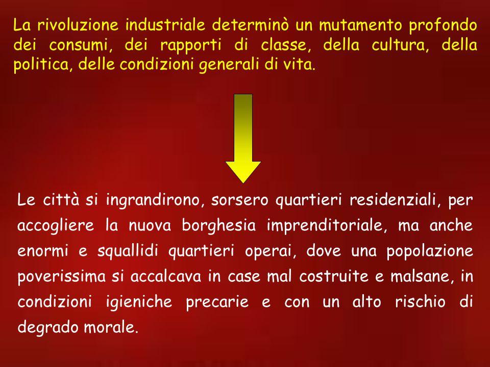 La rivoluzione industriale determinò un mutamento profondo dei consumi, dei rapporti di classe, della cultura, della politica, delle condizioni generali di vita.
