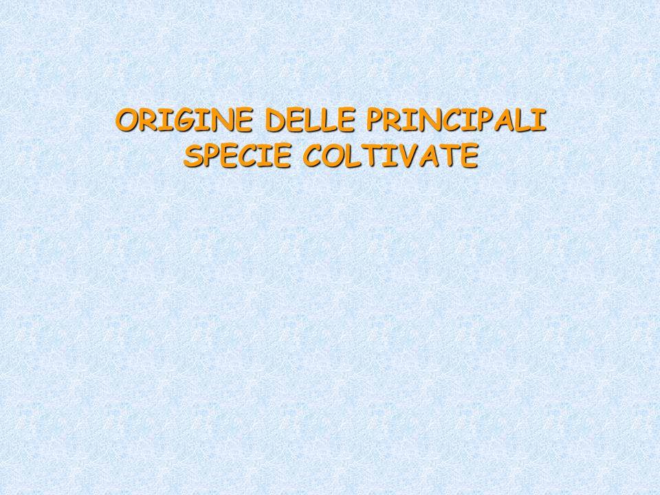 ORIGINE DELLE PRINCIPALI SPECIE COLTIVATE