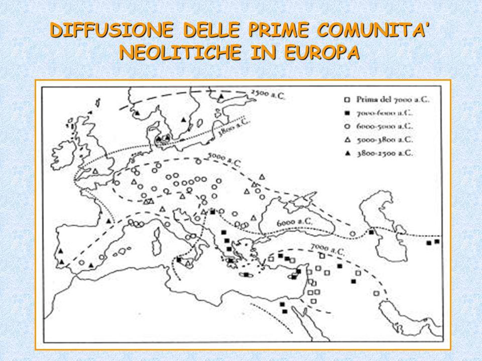 DIFFUSIONE DELLE PRIME COMUNITA' NEOLITICHE IN EUROPA