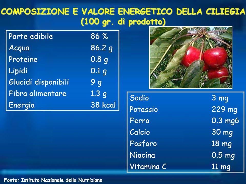 COMPOSIZIONE E VALORE ENERGETICO DELLA CILIEGIA (100 gr. di prodotto)