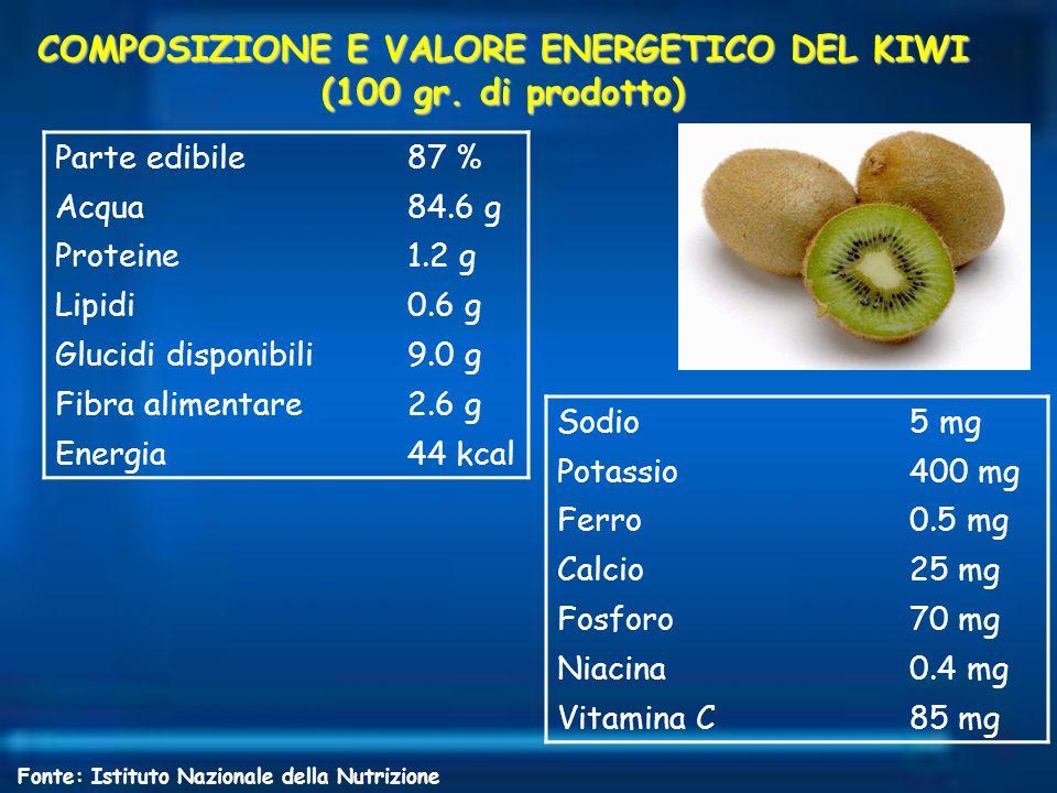 COMPOSIZIONE E VALORE ENERGETICO DEL KIWI (100 gr. di prodotto)