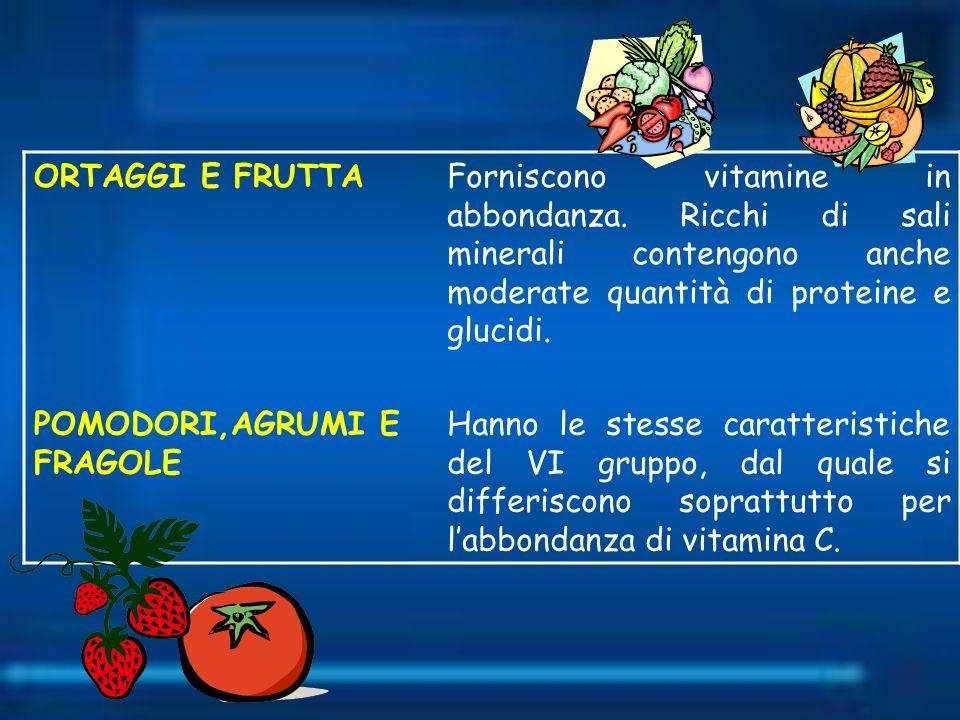 ORTAGGI E FRUTTA Forniscono vitamine in abbondanza. Ricchi di sali minerali contengono anche moderate quantità di proteine e glucidi.