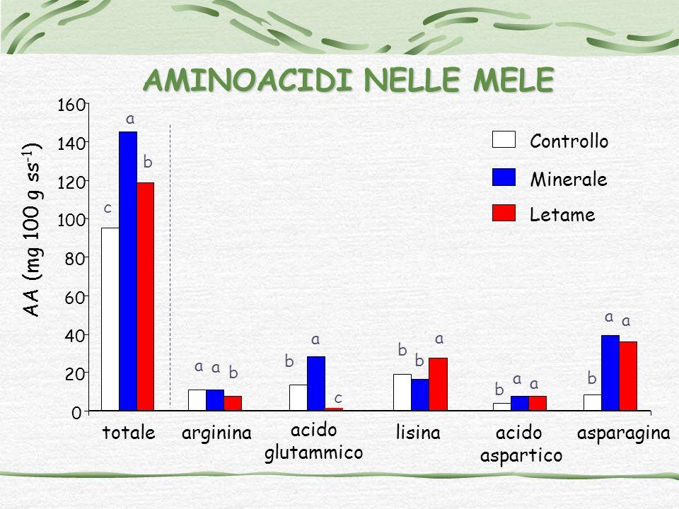 AMINOACIDI NELLE MELE AA (mg 100 g ss-1) Controllo Minerale Letame