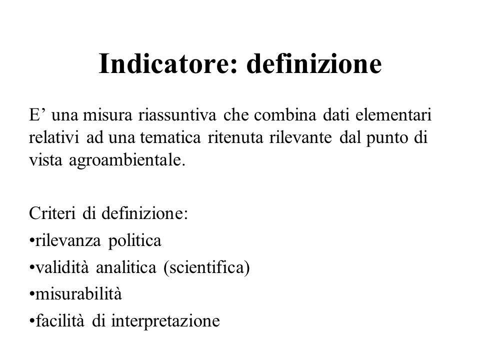 Indicatore: definizione