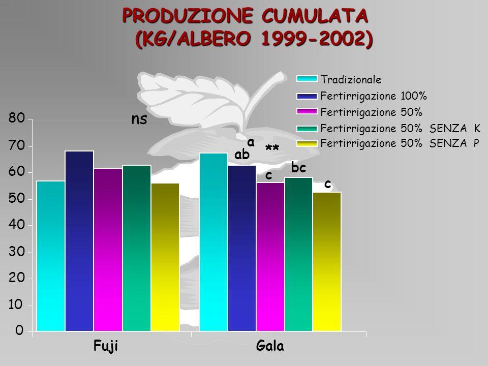 PRODUZIONE CUMULATA (KG/ALBERO 1999-2002)