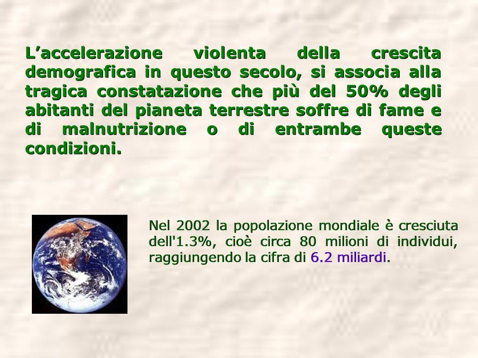 L'accelerazione violenta della crescita demografica in questo secolo, si associa alla tragica constatazione che più del 50% degli abitanti del pianeta terrestre soffre di fame e di malnutrizione o di entrambe queste condizioni.