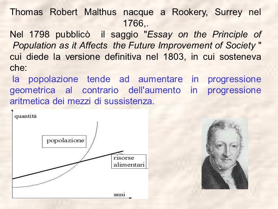 Thomas Robert Malthus nacque a Rookery, Surrey nel 1766,