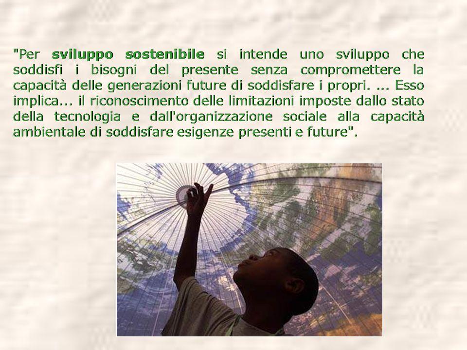 Per sviluppo sostenibile si intende uno sviluppo che soddisfi i bisogni del presente senza compromettere la capacità delle generazioni future di soddisfare i propri.