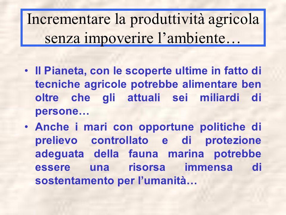 Incrementare la produttività agricola senza impoverire l'ambiente…