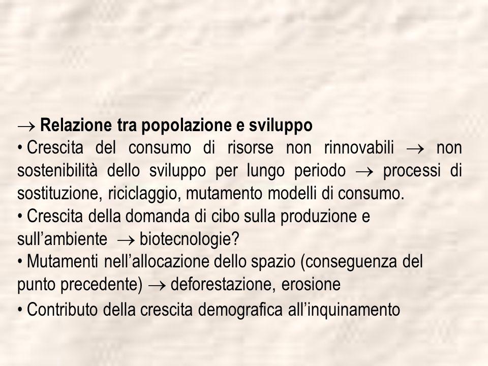  Relazione tra popolazione e sviluppo
