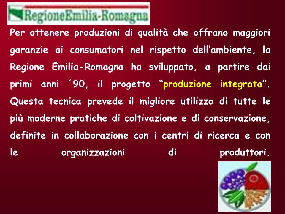Per ottenere produzioni di qualità che offrano maggiori garanzie ai consumatori nel rispetto dell'ambiente, la Regione Emilia-Romagna ha sviluppato, a partire dai primi anni ´90, il progetto produzione integrata .