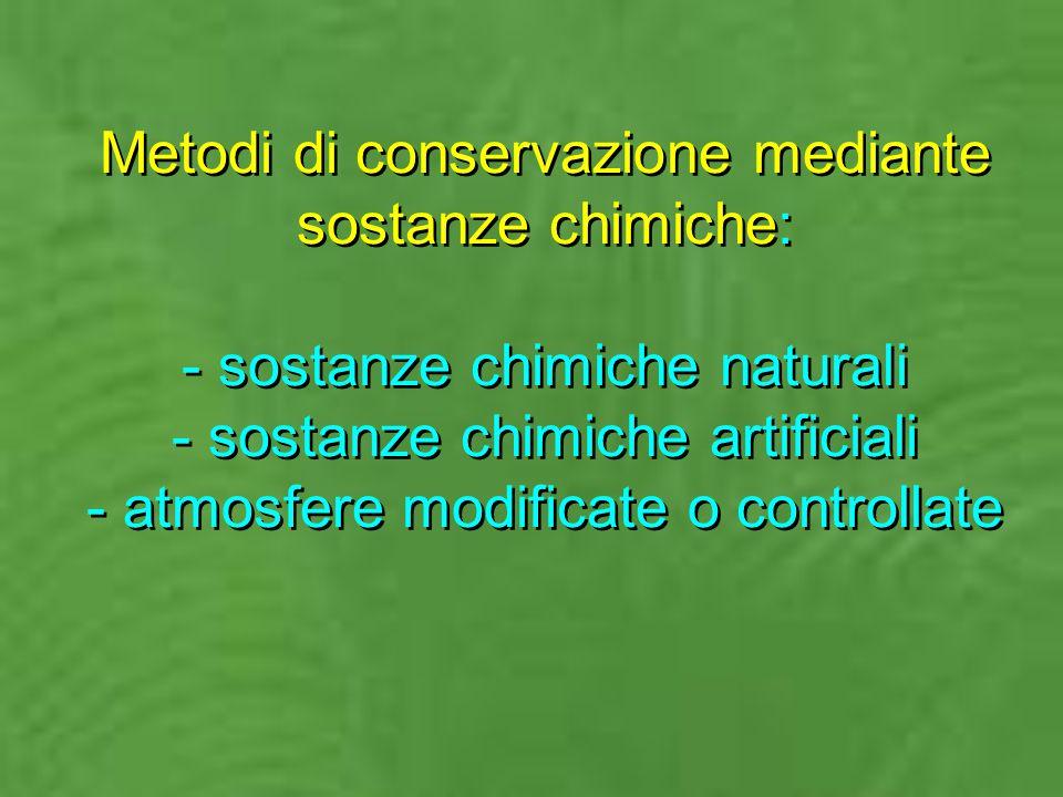 Metodi di conservazione mediante sostanze chimiche: - sostanze chimiche naturali - sostanze chimiche artificiali - atmosfere modificate o controllate