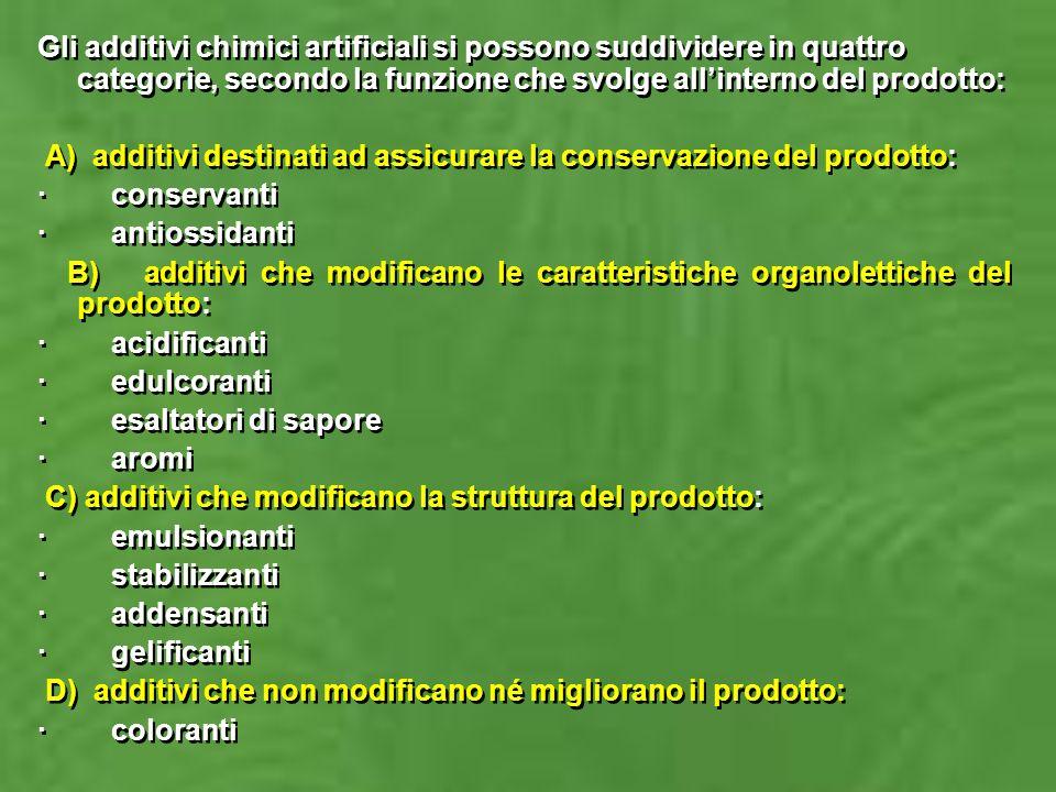 Gli additivi chimici artificiali si possono suddividere in quattro categorie, secondo la funzione che svolge all'interno del prodotto: