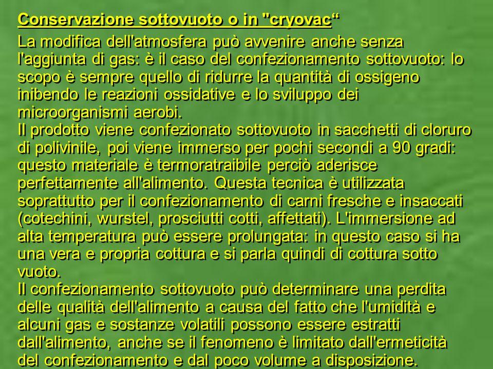 Conservazione sottovuoto o in cryovac