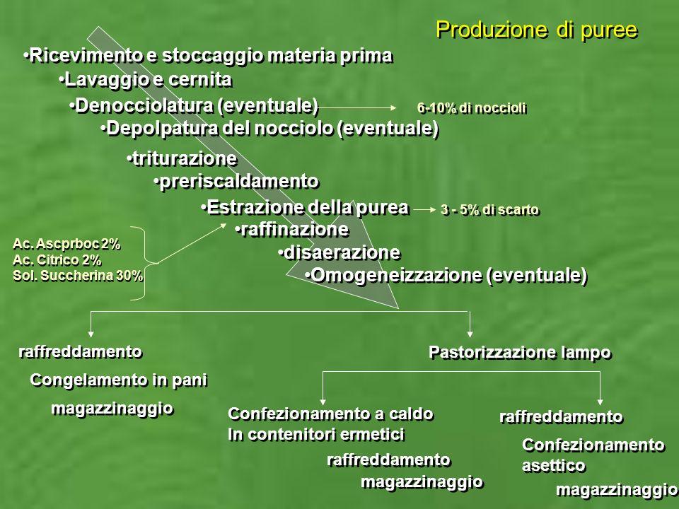 Produzione di puree Ricevimento e stoccaggio materia prima