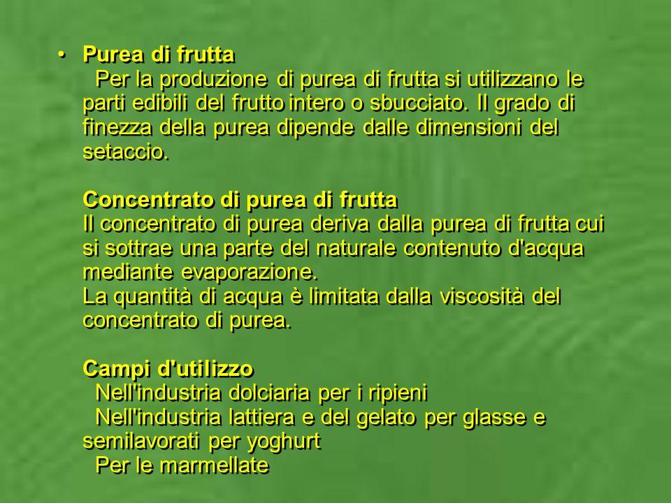 Purea di frutta Per la produzione di purea di frutta si utilizzano le parti edibili del frutto intero o sbucciato.