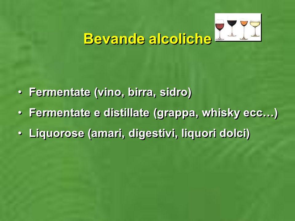 Bevande alcoliche Fermentate (vino, birra, sidro)