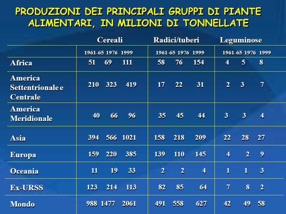 PRODUZIONI DEI PRINCIPALI GRUPPI DI PIANTE ALIMENTARI, IN MILIONI DI TONNELLATE