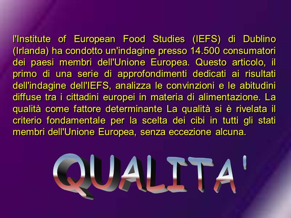l Institute of European Food Studies (IEFS) di Dublino (Irlanda) ha condotto un indagine presso 14.500 consumatori dei paesi membri dell Unione Europea. Questo articolo, il primo di una serie di approfondimenti dedicati ai risultati dell indagine dell IEFS, analizza le convinzioni e le abitudini diffuse tra i cittadini europei in materia di alimentazione. La qualità come fattore determinante La qualità si è rivelata il criterio fondamentale per la scelta dei cibi in tutti gli stati membri dell Unione Europea, senza eccezione alcuna.