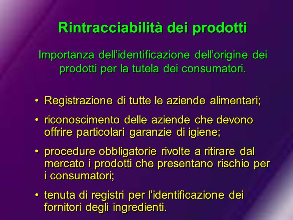 Rintracciabilità dei prodotti Importanza dell'identificazione dell'origine dei prodotti per la tutela dei consumatori.