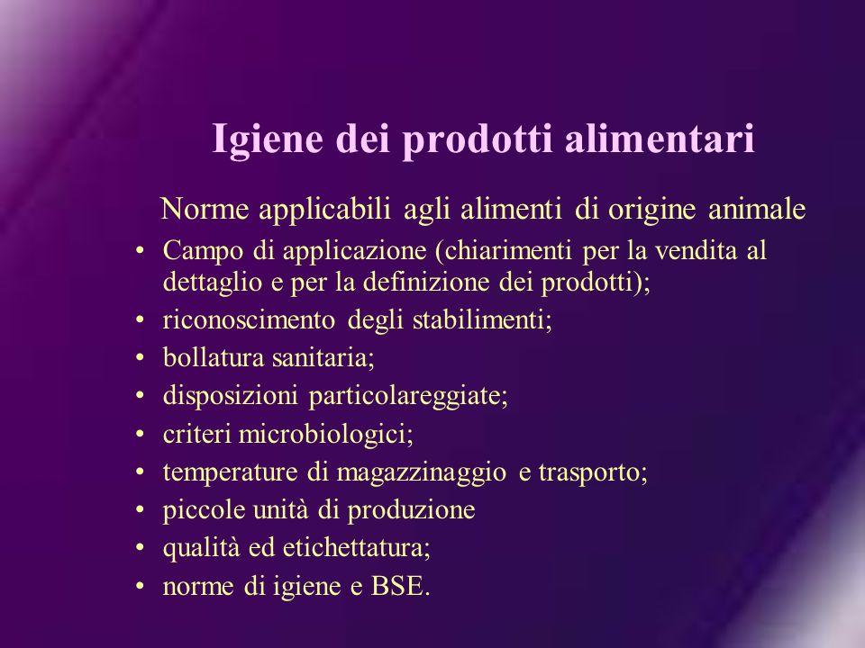 Igiene dei prodotti alimentari Norme applicabili agli alimenti di origine animale
