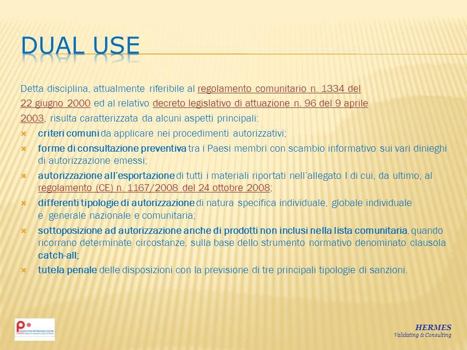 DUAL USE Detta disciplina, attualmente riferibile al regolamento comunitario n. 1334 del.