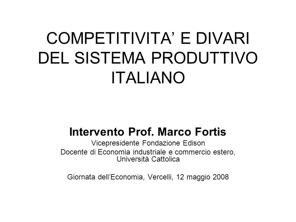 COMPETITIVITA' E DIVARI DEL SISTEMA PRODUTTIVO ITALIANO
