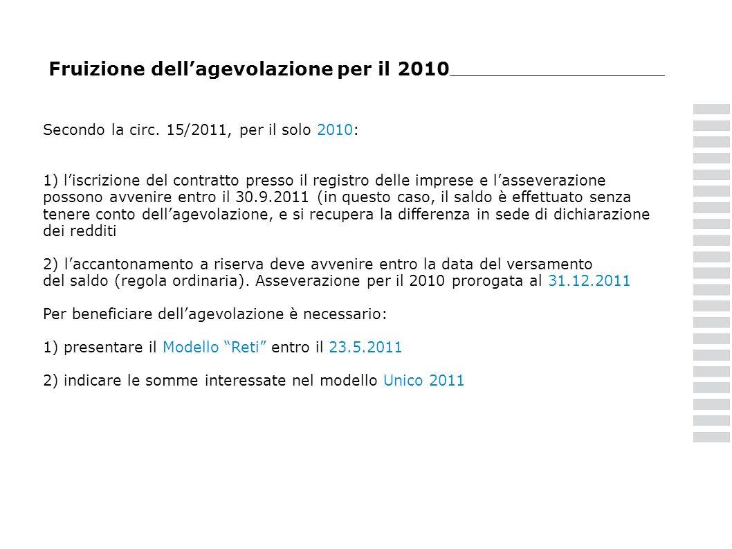 Fruizione dell'agevolazione per il 2010
