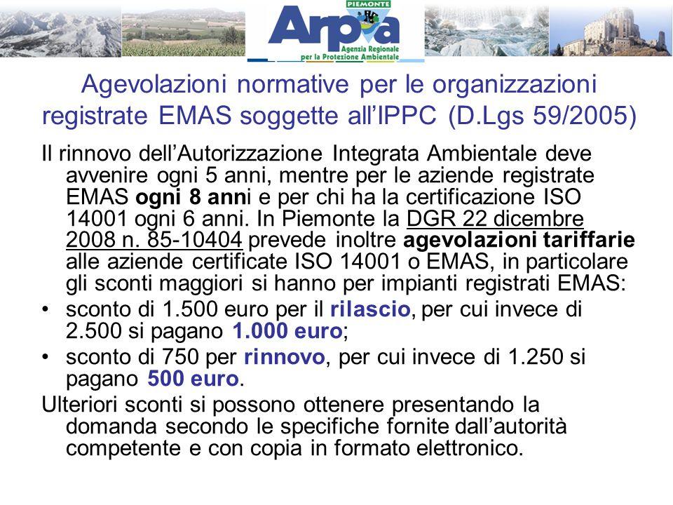 Agevolazioni normative per le organizzazioni registrate EMAS soggette all'IPPC (D.Lgs 59/2005)