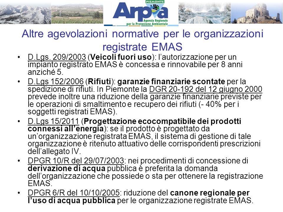 Altre agevolazioni normative per le organizzazioni registrate EMAS