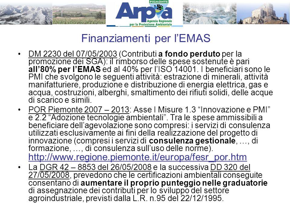 Finanziamenti per l'EMAS