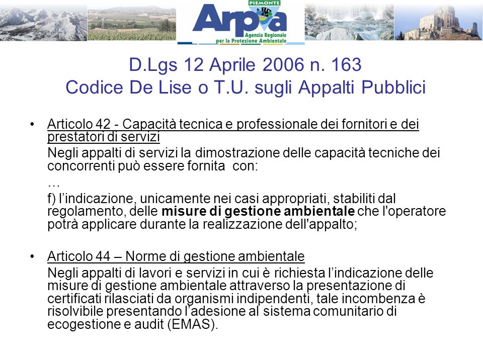 D. Lgs 12 Aprile 2006 n. 163 Codice De Lise o T. U