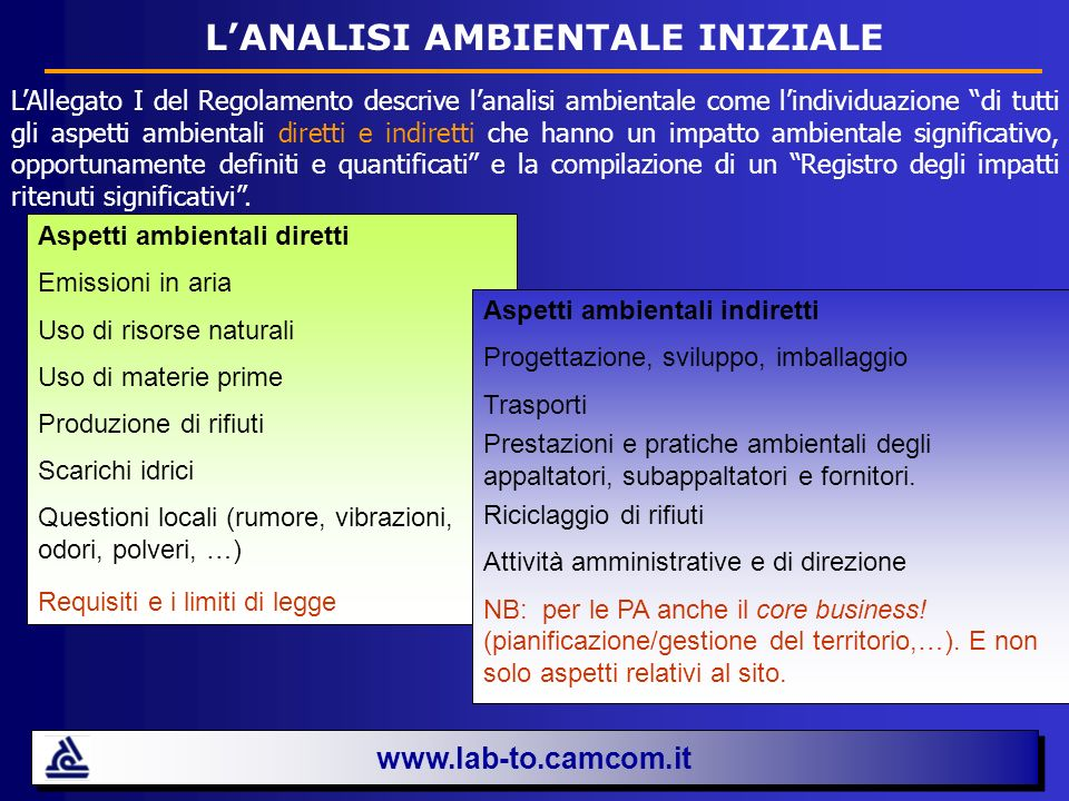 L'ANALISI AMBIENTALE INIZIALE