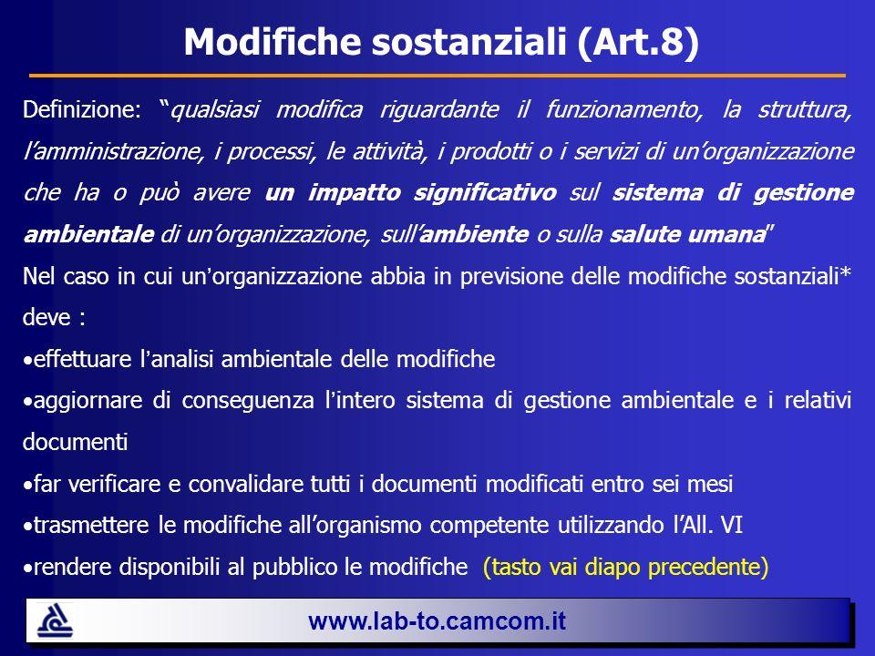 Modifiche sostanziali (Art.8)