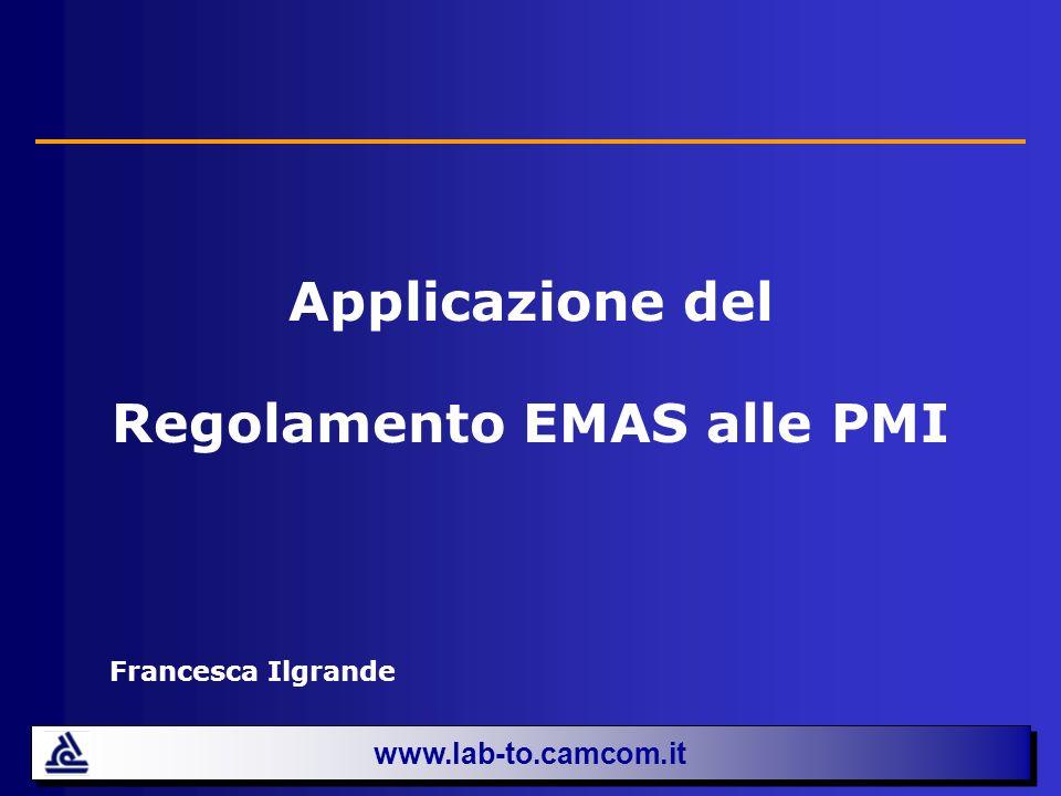 Applicazione del Regolamento EMAS alle PMI