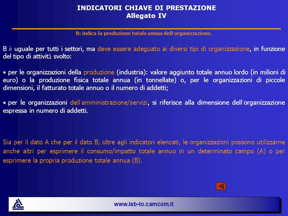 INDICATORI CHIAVE DI PRESTAZIONE Allegato IV