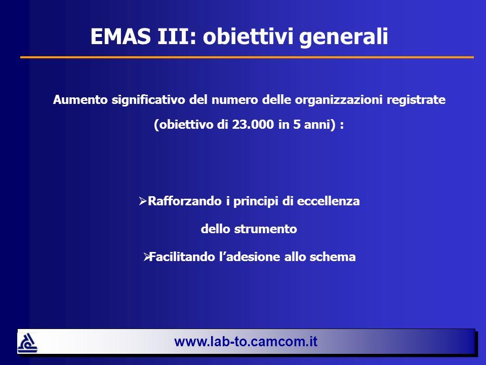 EMAS III: obiettivi generali