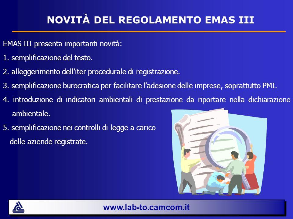 NOVITÀ DEL REGOLAMENTO EMAS III