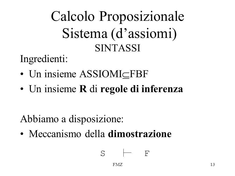 Calcolo Proposizionale Sistema (d'assiomi) SINTASSI