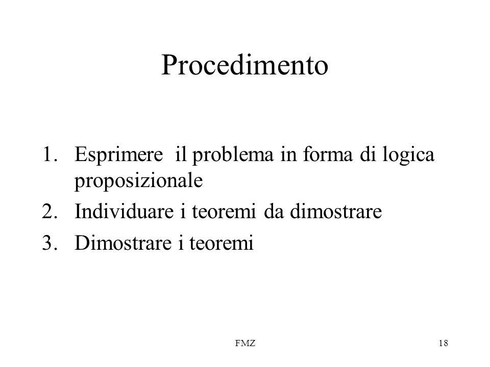 Procedimento Esprimere il problema in forma di logica proposizionale