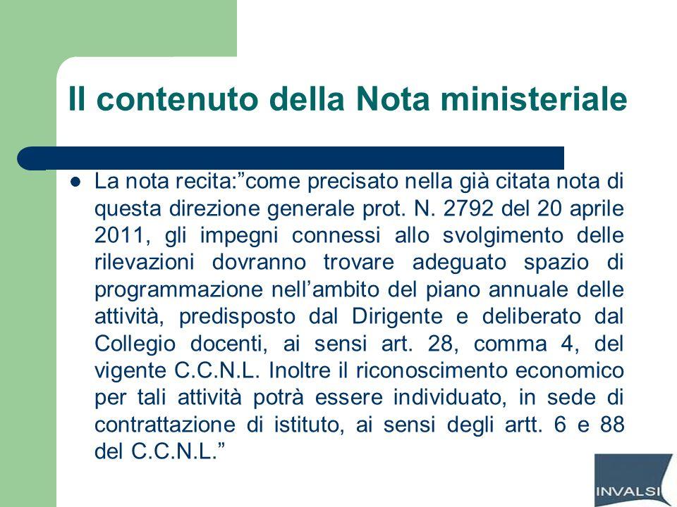 Il contenuto della Nota ministeriale
