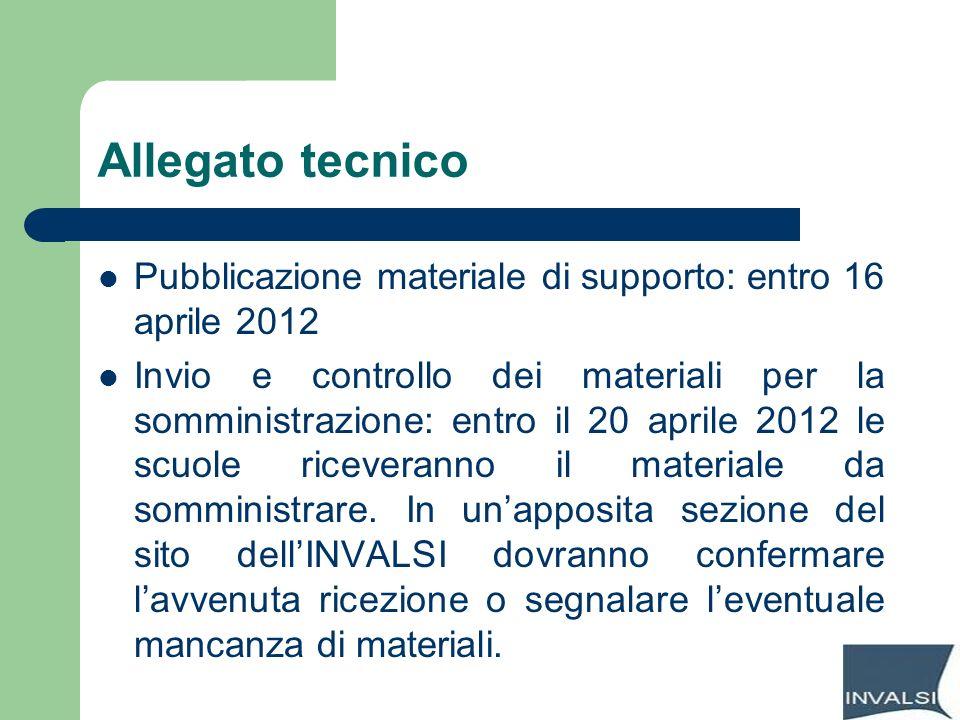 Allegato tecnico Pubblicazione materiale di supporto: entro 16 aprile 2012.