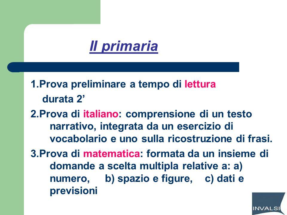 II primaria 1.Prova preliminare a tempo di lettura durata 2'