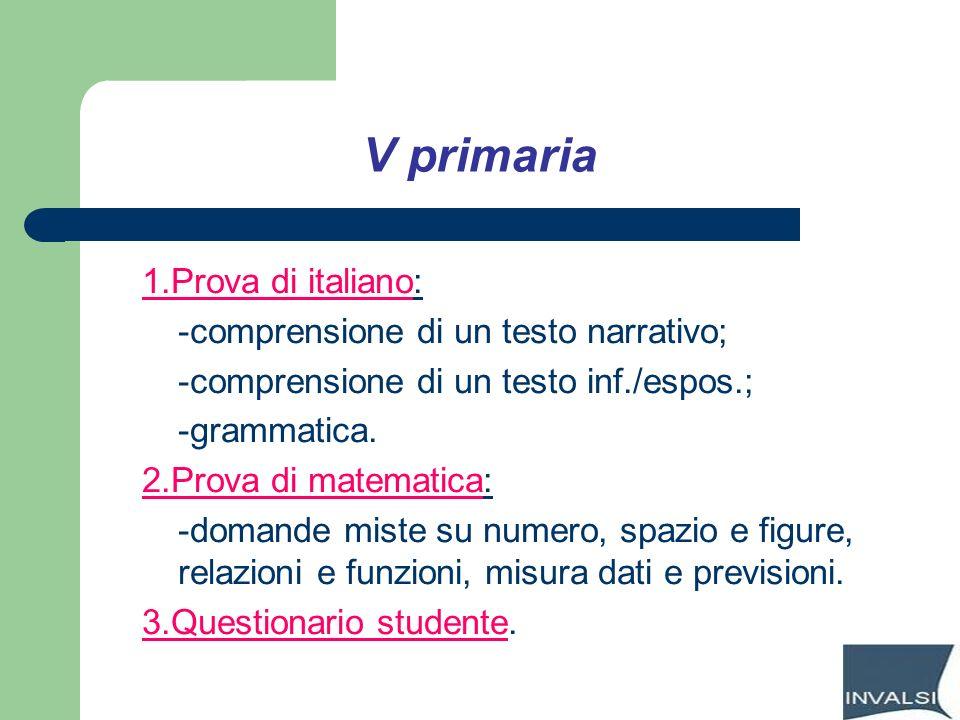 V primaria 1.Prova di italiano: -comprensione di un testo narrativo;