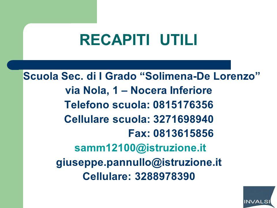 RECAPITI UTILI Scuola Sec. di I Grado Solimena-De Lorenzo